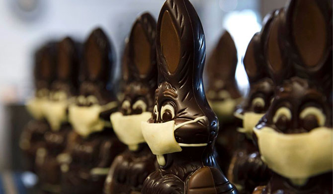 Belgium's easter chocolates get masks! (Pics)