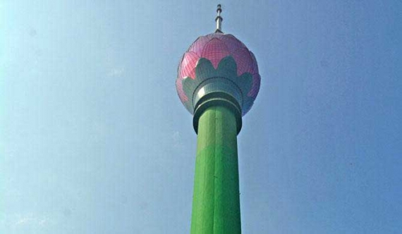 The Lotus Tower's large scale water pipeline erupted