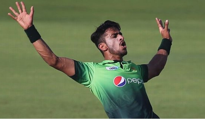 Hasan Ali exhibits his trademark celebration