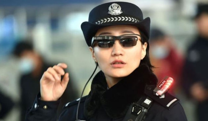 Chinese police sporting shades with facial recognition