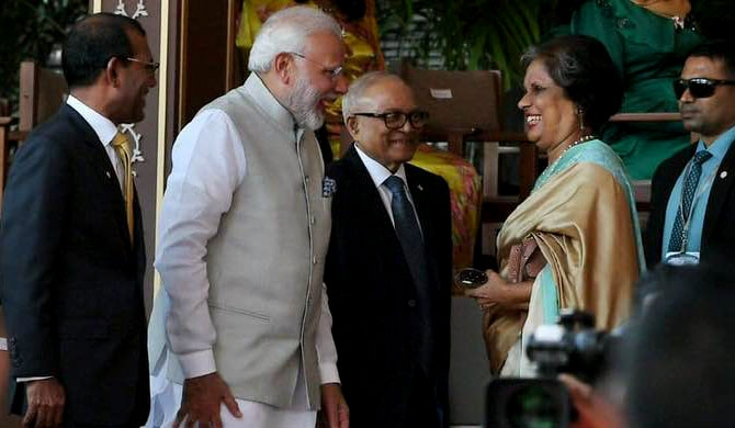 Chandrika meets Modi in Malé!