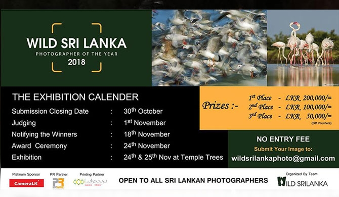 """Wild Sri Lanka Photographer of the year 2018"" to be held"