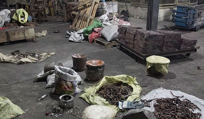 The copper factory in Wellampitiya, a suburb of Colombo, was raided by police in Sri Lanka last night