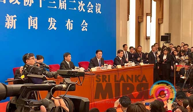 Guo Weimin, spokesperson of the second session of the 13th National Committee of the Chinese People's Political Consultative Conference, at the press conference held on March 02, at the Great Hall of the People in Beijing.