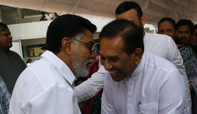 Rajitha slams President during foundation laying ceremony of the Dr. Jayalath's hospital ward