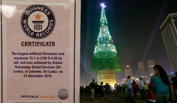 Sri Lanka's tallest Christmas tree enters Guinness Book